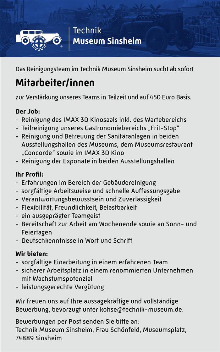Jobs Technik Museen Sinsheim Speyer